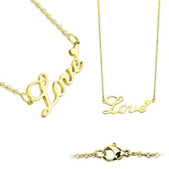 Love On The Line Gold - Gold Stainless Steel Love Lettering with Heart Necklace