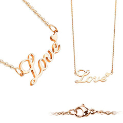 Love On The Line Rose Gold - Rose Gold Stainless Steel Love Lettering with Heart Necklace