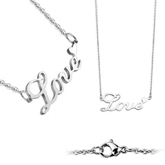 Love On The Line Silver - Silver Stainless Steel Love Lettering with Heart Necklace