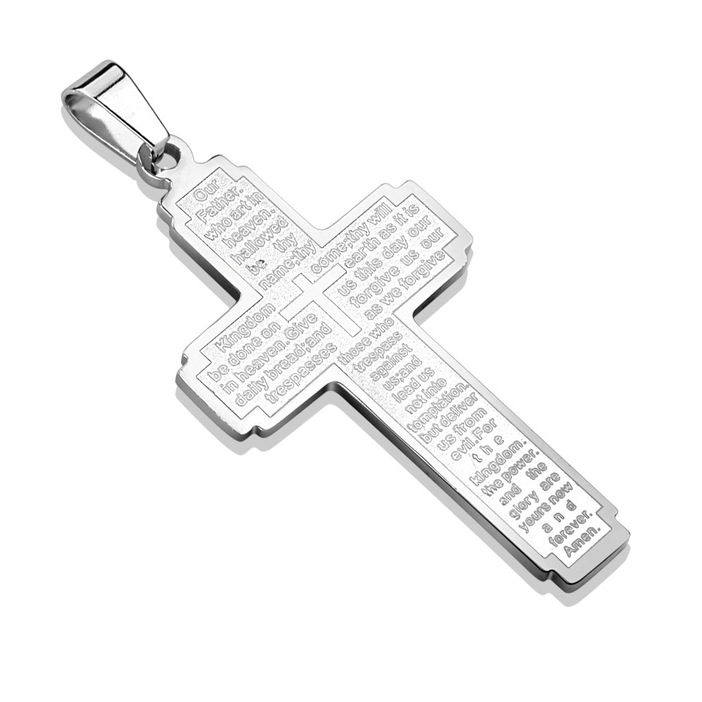 Thy Kingdom Come Pendant in Silver - Stainless Steel Cross Pendant With The Lord's Prayer