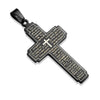 Thy Kingdom Come Pendant in Black - Stainless Steel Black Ion Plated Cross Pendant With The Lord's Prayer