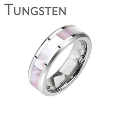 Seashell Circle - LIMITED QUANTITY Sophisticated Design Mother Of Pearl Center Band Tungsten Carbide Comfort Fit Ring