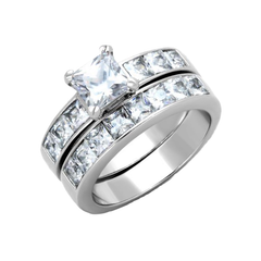 Silver Morning - Women's High Polished Stainless Steel Ring with AAA Grade Clear CZ Stones