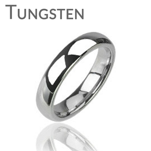 Silver Tradition Tungsten Wedding Band - Tungsten Carbide Shiny Finish Traditional Wedding Band
