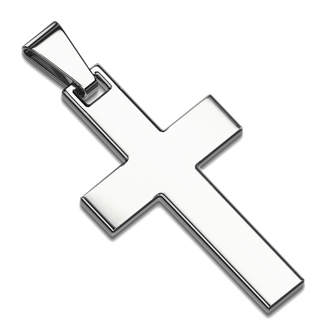 Simple Cross Pendant in Silver - Stainless Steel IP Cross Pendant