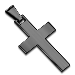 Simple Cross Pendant in Black - Stainless Steel IP Cross Pendant