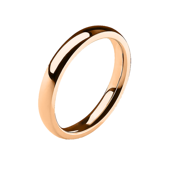 Simple Rose - 3mm Mirror Polished Glossy Rose Gold IP Stainless Steel Traditional Wedding Band