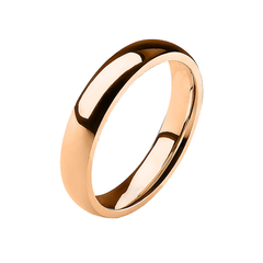 Simple Rose - 4mm Mirror Polished Glossy Rose Gold IP Stainless Steel Traditional Wedding Band