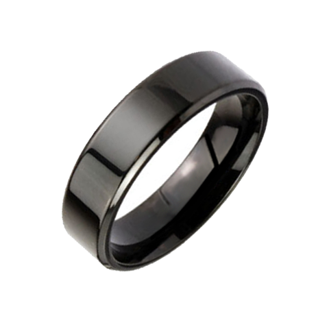 Smooth Silhouette 6mm - Beveled Edge Black IP Stainless Steel Ring