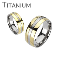 Sophistication – Brushed Finish Silver Two-Tone Gold Double Band Titanium Ring