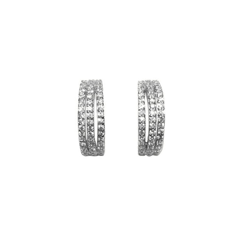 Sparkle Trio - Clear CZ Half Circle Stud Earrings