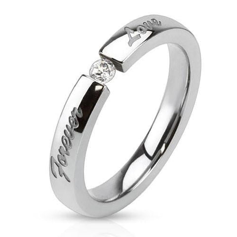 Sparks Fly - A Pure And Simple Cubic Zirconia Engraved Timeless Stainless Steel