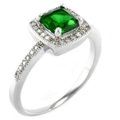 Square Emerald Halo - Square Emerald Colored CZ Halo Ring