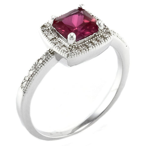 Square Ruby Halo - Square Ruby Colored CZ Halo Ring