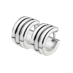 Stripes Trio Huggie - Stainless Steel Triple Dome Huggie Earrings