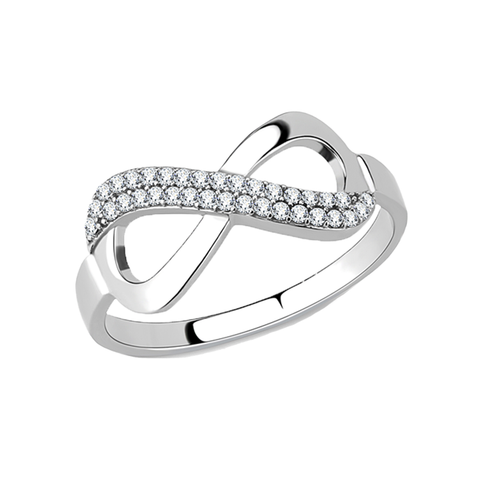 Sweet Infinity - Women's High Polished Stainless Steel Ring with AAA Grade Clear CZ Stones