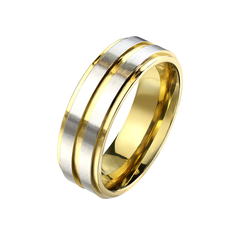 Synchronized in Gold - Unisex Brushed Center Stainless Steel Ring with Gold IP Groove