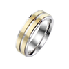 Synchronized in Steel - Unisex Gold IP Brushed Center Stainless Steel Ring with Steel Groove