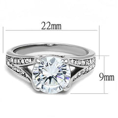 Steal The Show - A Stunning Stainless Steel Ring With A Cubic Zirconia 2.75 CT. Eq. Center Stone