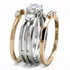 Anastasia - Women's Stainless Steel Two Tone IP Rose Gold Stackable Ring With Clear CZ Stones