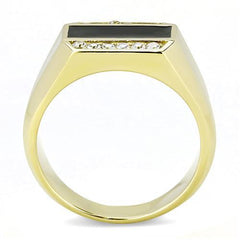 Gilded Man - Men's Gold Ion Plated Stainless Steel Statement Ring With Clear CZ Stones
