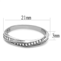 Tangled With Shine - Women's Stainless Steel Twisted Style Clear CZ Eternity Ring