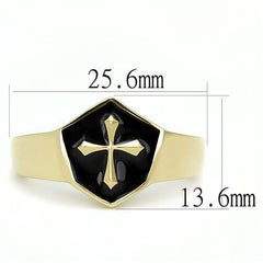 Knights Crest - Men's Stainless Steel Gold IP Ring With Jet Black Epoxy