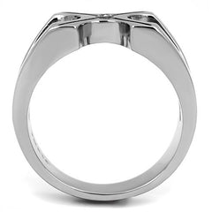 Crossed Paths - Men's Stainless Steel High Polished CZ Ring