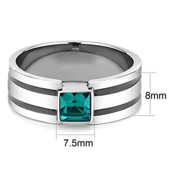 Charming Blue - Stainless Steel And Black High Polished Men's Ring With Blue Square Zircon Stone