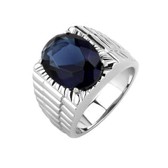 Tremendous Blue - Men's Stainless Steel Synthetic Montana Stone Statement Ring
