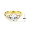 Golden Girl - Women's Stainless Steel Gold IP Clear CZ Ring