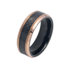 The Mogul - Men's Two Tone Black & Rose Gold IP Tungsten Ring with Carbon Fiber Inlay