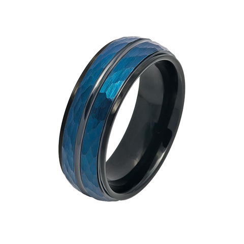 McClane - Men's Two Tone Blue and Black IP Hammered Finish Tungsten Ring