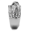 Tangled in Love - A Beautiful Women's High Polished Stainless Steel Statement Ring with Round AAA Grade Clear CZ Stones