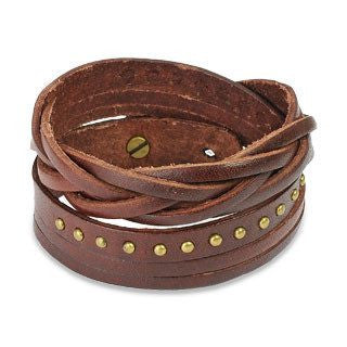 That's A Wrap Brown - Brown Leather Wrap Bracelet With Studded Weaved Ends