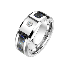 The Ridley - Men's Black and Blue Carbon Fiber Inlaid Center with CZ Center Stone Tungsten Titanium Alloy Tisten Ring