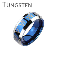 The Blue Roman - Trendy Design Roman Numerals Blue and Tungsten Comfort-Fit Band