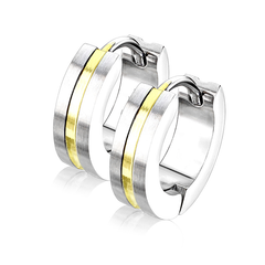 Thin Gold Line Hoop Earrings - Gold IP Center Surgical Grade Stainless Steel Hoop Earrings with Brushed Surface