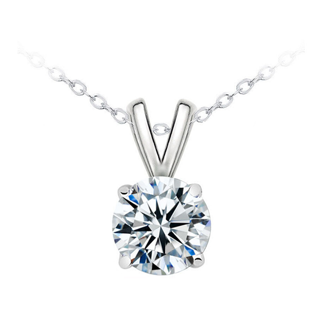 Classic Solitaire Pendant Necklace - Women's Rhodium Plated Brass and 1 CT. CZ Pendant Necklace