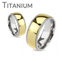 Timeless Gold - Highly Polished Gold Ion Plated Beveled Edges Comfort Fit Titanium Wedding Ring