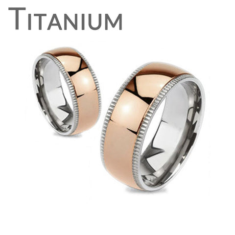 Timeless Rose - FINAL SALE Highly Polished Rose Gold Ion Plated Beveled Edges Comfort Fit Titanium Wedding Ring