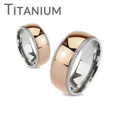 Timeless Rose - Highly Polished Rose Gold Ion Plated Beveled Edges Comfort Fit Titanium Wedding Ring