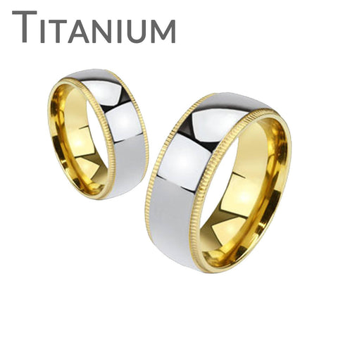 Timeless Silver - Highly Polished Silver Gold IP Beveled Edges Comfort Fit Titanium Wedding Ring