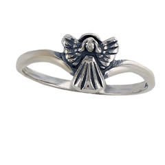 Tiny Angel of Protection - Cute Angel Beautifully Crafted Sterling Silver Comfort-Fit Ring