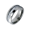 Titanium On The Rocks - Impeccable Solid Titanium Comfort Fit Ring with Cubic Zirconias Center Wedding Band