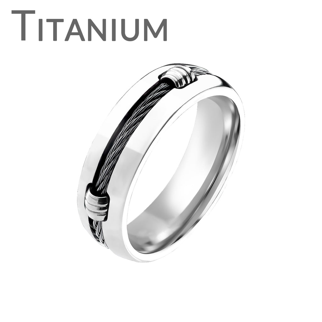 titanium onyx solid woven cord coiled around the center highly polished titanium ring - Onyx Wedding Ring