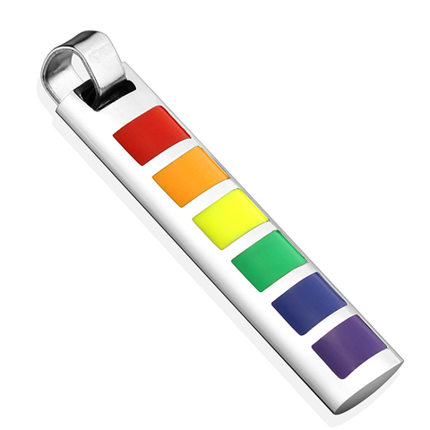Together - Rainbow Squares Enamel Stainless Steel Bar Pendant