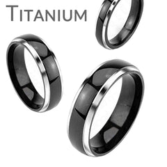 Tuxedo - Refined Elegance Solid Titanium Silver and Black Comfort Fit Wedding Band