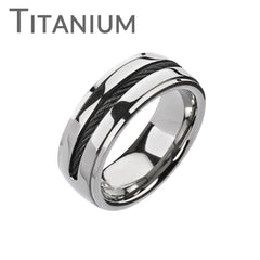 Twist My Arm - FINAL SALE Twisted Black Center Wire Solid Titanium Comfort-Fit Ring