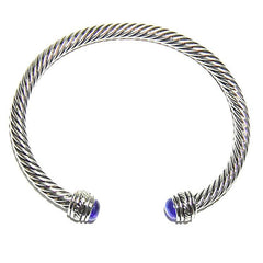 Twisted Blue - Dark Blue Stone Bangle
